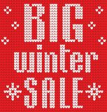 Knitted Text. Big winter sale. In red and white colors. Vector illustration Royalty Free Stock Photos