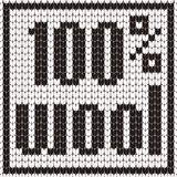 Knitted Text. 100% wool. In black and white colors. Vector illustration. Knitted Text. 100 wool. In black and white colors. Vector illustration Royalty Free Stock Images
