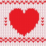 Knitted textile decorative valentine heart. Seamless pattern Stock Photos