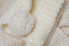 Knitted texture and color of ivory bubo Royalty Free Stock Images