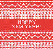 Knitted texture with nothern ornament. Vector background. Happy New Year. Stock Photo