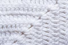 Knitted texture white fabric close up. macro. Royalty Free Stock Photos