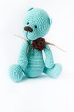 Knitted toy blue bear Royalty Free Stock Images