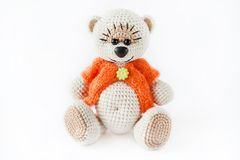 Knitted toy blue bear Royalty Free Stock Image