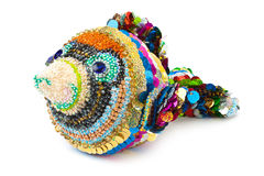 Knitted toy fish Royalty Free Stock Images