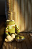 Knitted toy frog Royalty Free Stock Image