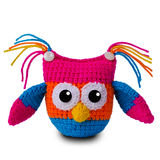 Knitted toy owl Royalty Free Stock Images