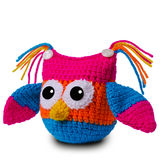 Knitted toy owl Stock Photos