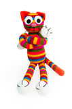 Knitted toy - striped cat. Stock Photography
