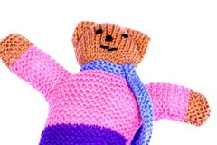 Knitted toy teddy bear B Stock Photo