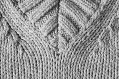 Knitted v-neck detail. Knitted v-neck close up black and white Stock Images