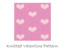 Knitted valentine pattern Royalty Free Stock Images
