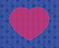 Knitted Valentine`s Day card, pink heart on the background of blue geometric ornament. Knitted Valentine`s Day greeting card, pink heart on the background of vector illustration