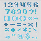 Knitted vector alphabet, blue bold serif numbers and punctuation. Stock Image