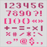 Knitted vector alphabet, red bold sans serif numbers and punctuation. Royalty Free Stock Photos