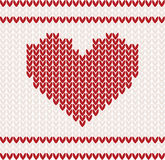 Knitted vector with heart Stock Photo