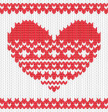 Knitted vector heart Stock Image