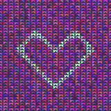 Knitted vector heart on many colorful hears background.  vector illustration Royalty Free Stock Images