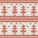 Knitted seamless vector pattern with christmas trees and snowflakes royalty free illustration