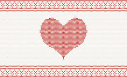 Knitted vector pattern with heart Stock Image