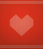 Knitted Vector Pattern With Red Heart Stock Images