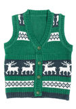 Knitted vest with a Christmas ornament (with deer) stock photography