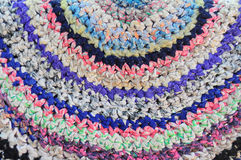 Knitted vintage handmade colorful round rug Stock Image