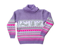 Knitted Warm Violet Sweater Pattern Stock Image