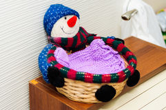 Knitted Wicker Basket On Top Of Breadbox Royalty Free Stock Photos