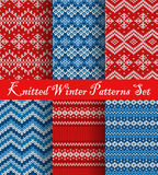 Knitted Winter Patterns Set Royalty Free Stock Photos