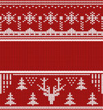 Knitted winter seamless linear ornaments red Stock Photography