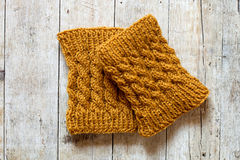 Knitted wood legwarmers Stock Photo