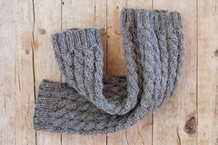 Knitted wood legwarmers Stock Image