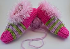 Knitted warm Slippers for Christmas stock images