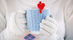 Knitted wool cup Royalty Free Stock Images