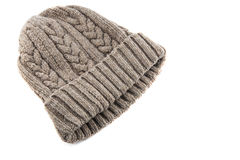 Knitted wool hat isolated. On white Royalty Free Stock Photography