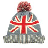 Knitted Wool Hat with Union Jack Flag Isolated On White Stock Photo