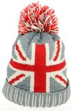 Knitted Wool Hat with Union Jack Flag Isolated On White Royalty Free Stock Photography