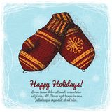 Knitted wool mittens background Royalty Free Stock Photos