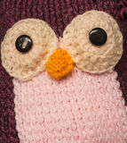 Knitted wool owl Royalty Free Stock Images