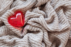 Knitted wool, red heart, valentine Royalty Free Stock Photo