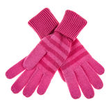 Knitted woolen baby gloves Stock Photos