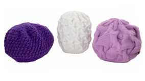 Knitted woolen caps. Royalty Free Stock Photography