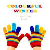 Knitted woolen children`s glove Royalty Free Stock Image