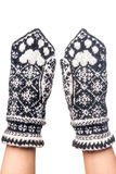 Knitted woolen mittens handmade with pattern Stock Photography