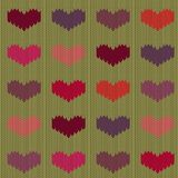 Knitted woolen seamless pattern with colored hearts on mustard background. Valentine`s Day royalty free illustration