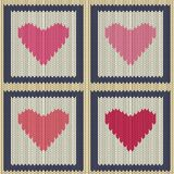 Knitted woolen seamless pattern with pink hearts in vintage squares. Valentine`s Day Royalty Free Stock Photography