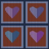 Knitted woolen seamless pattern with purple hearts in vintage brown squares. Valentine`s Day Stock Photo