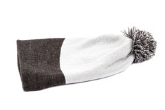 Knitted woollen hat on white background. Royalty Free Stock Photography