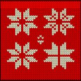 Knitted xmass fair isle elements. Vector knitted pattern. Christmas nordic fair isle elements. Flat vector cartoon illustration. Objects isolated on white Stock Image